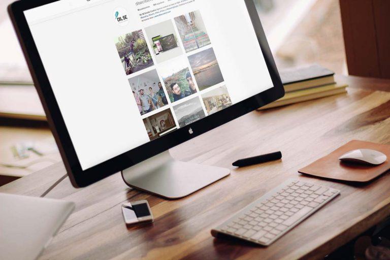 Ordenador con interfaz de Instagram mostrando cuenta de empresa