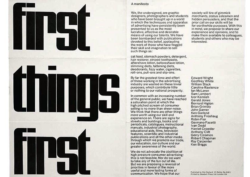 Immagine del primo manifesto di First Things, promosso dal designer Ken Garland