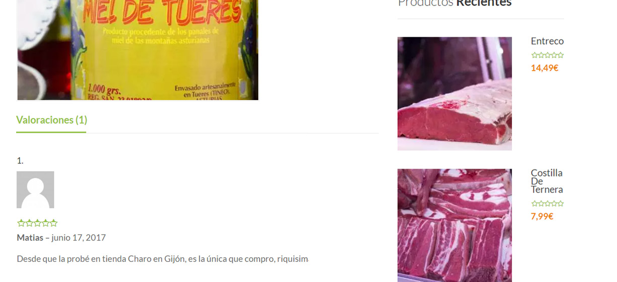 Tienda online con revisiones de producto