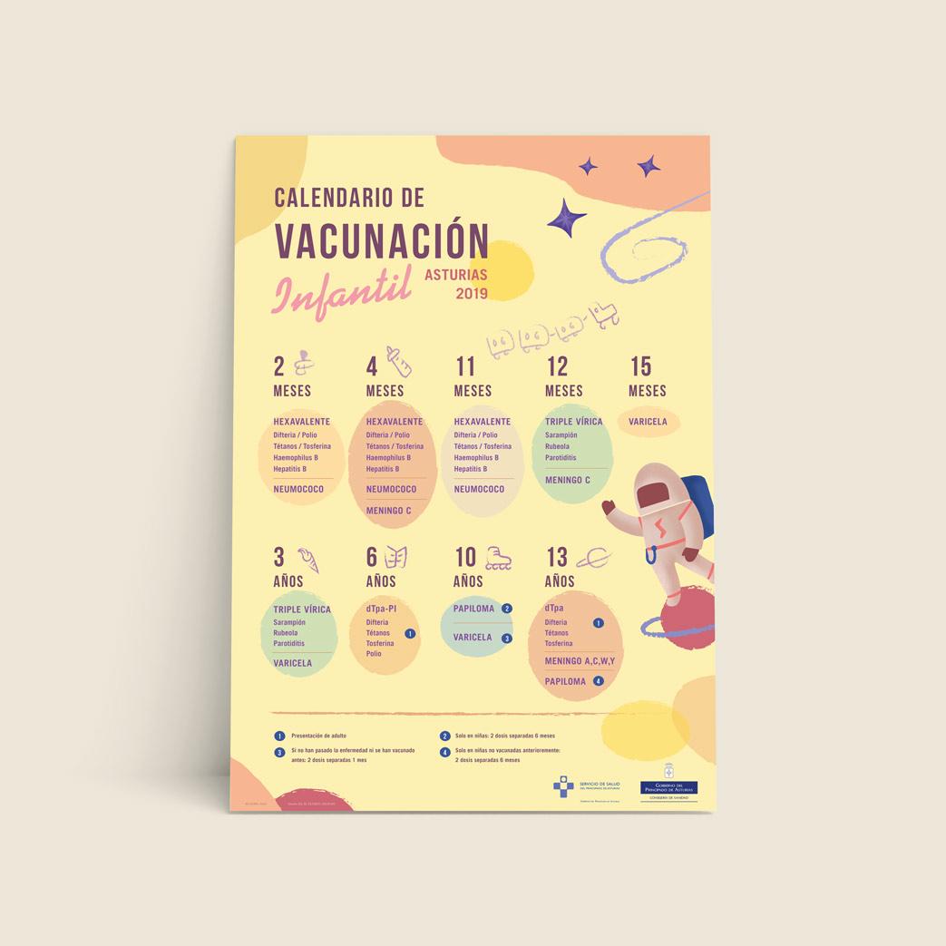 Poster Calendario de vacunación infantil del Principado de Asturias